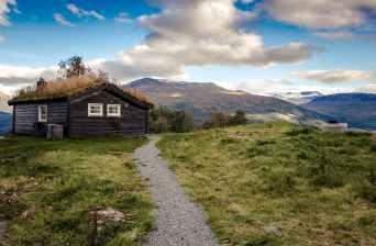 autumn barn blue sky bungalow